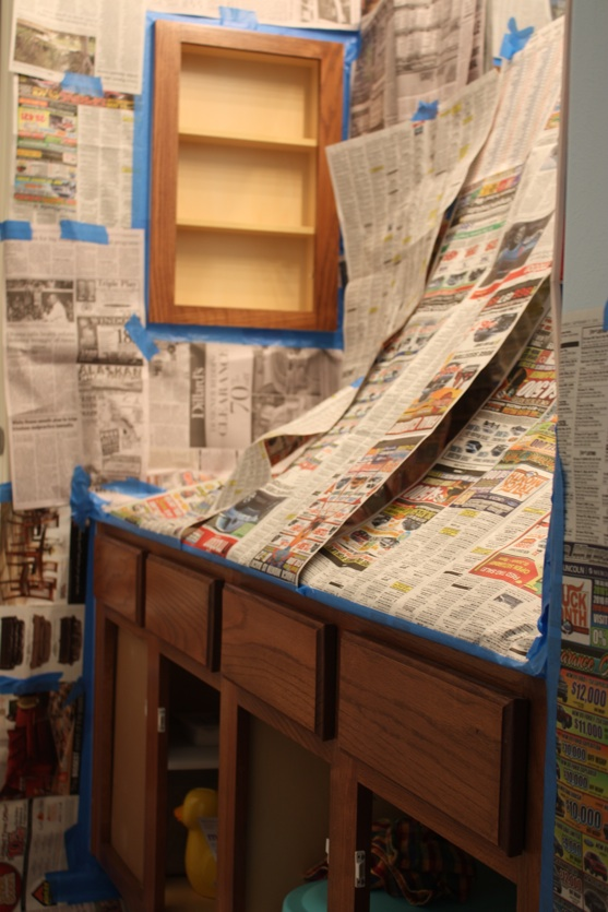 Bathroom Covered in Newspaper