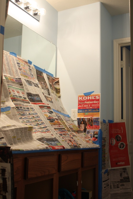 Bathroom Covered in Newspaper2